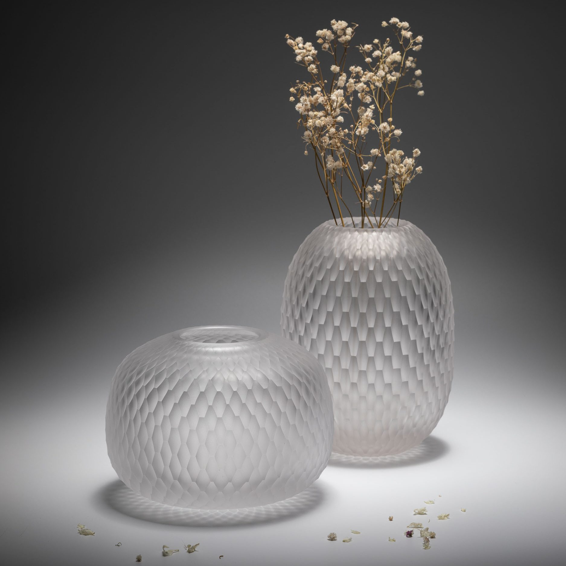 Handcut bohemian crystal vase by Ruckl, crystal colour,