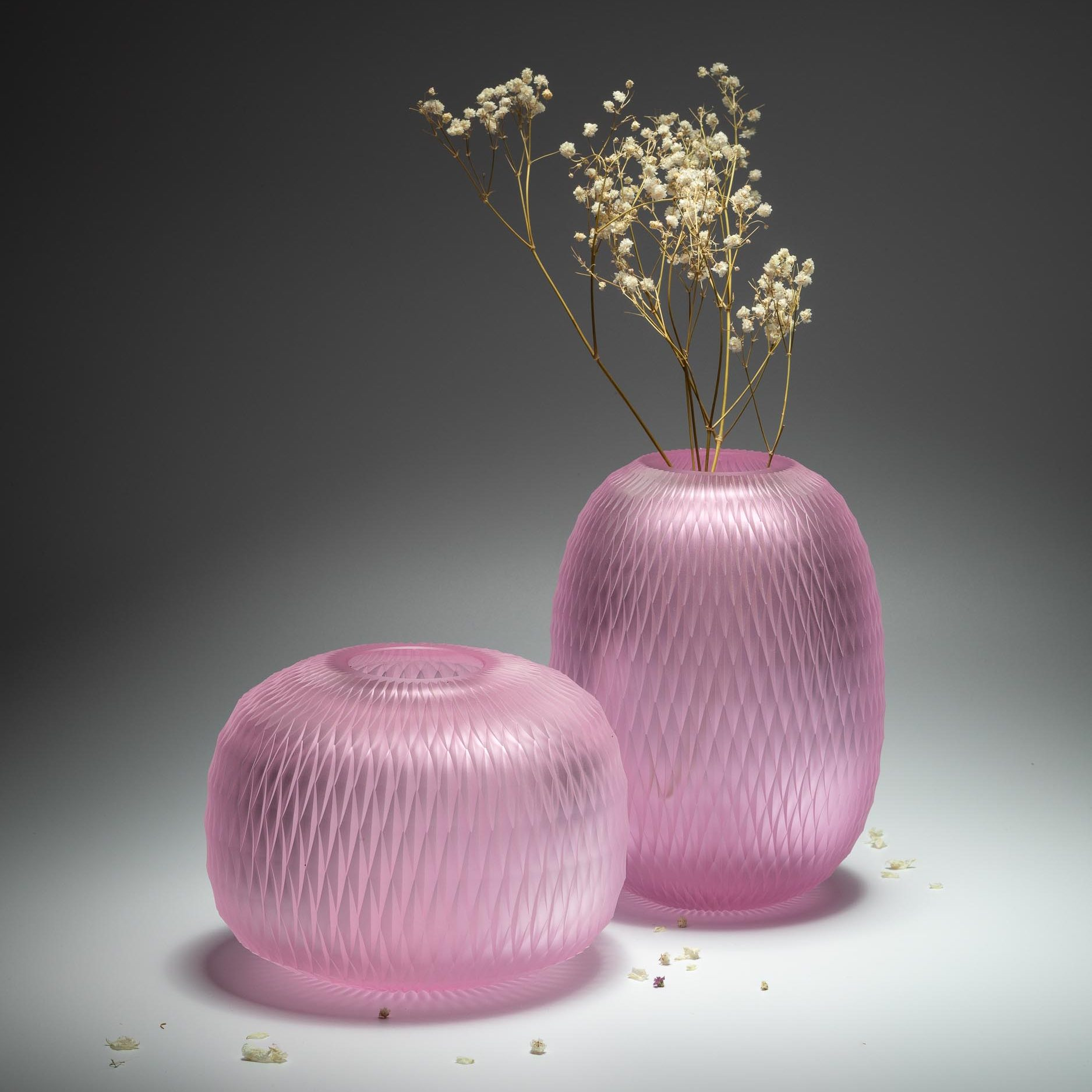 Handcut bohemian crystal vase by Ruckl, pink colour,