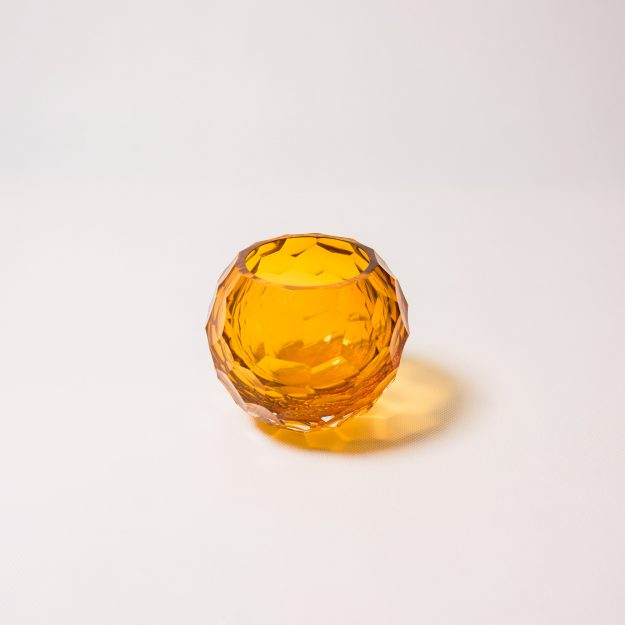 Amber tea light crystal holder
