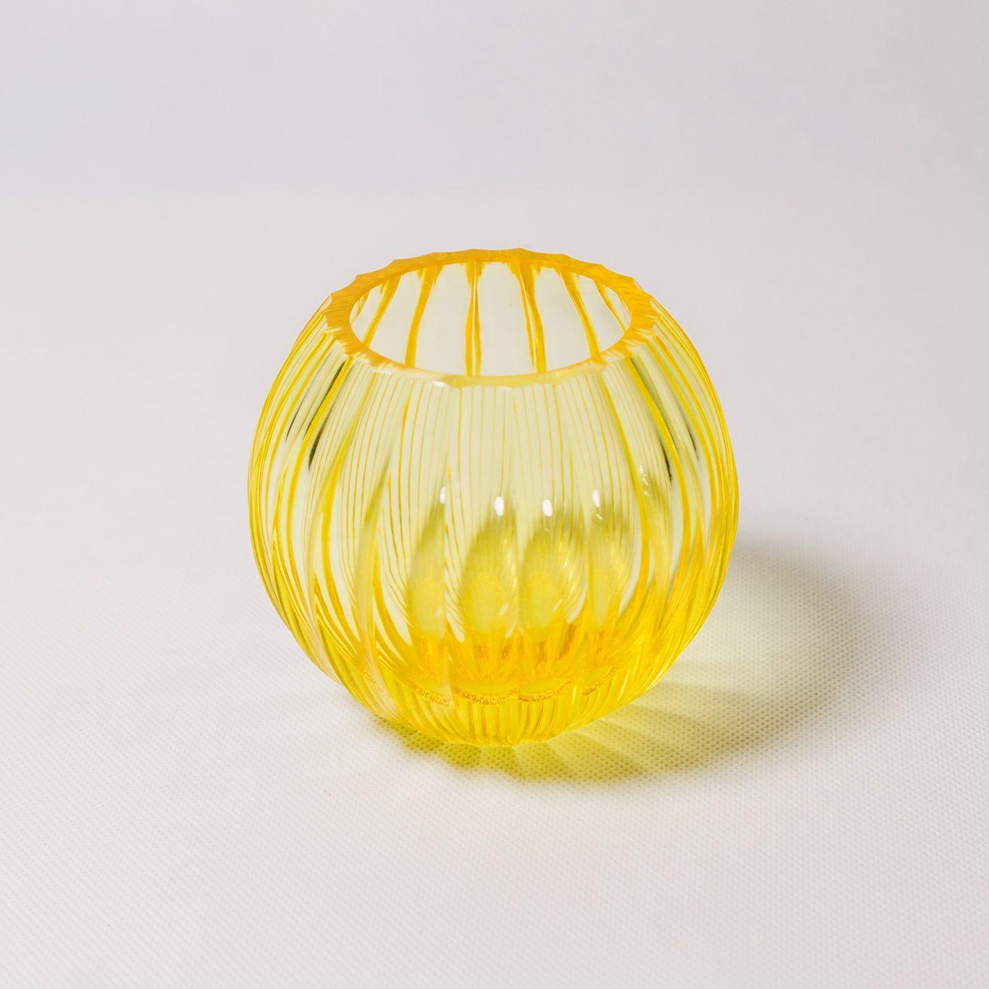 Yellow crystal tea light holder by Crystal Creative