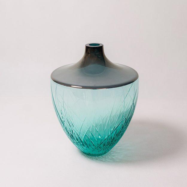 Aquamarine bohemian crystal vase by Crystal Creative