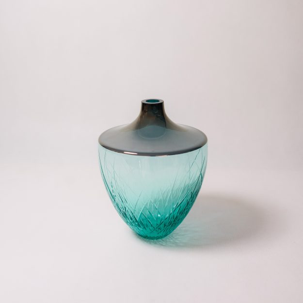 Aquamarine mouth blown crystal vase by Crystal Creative