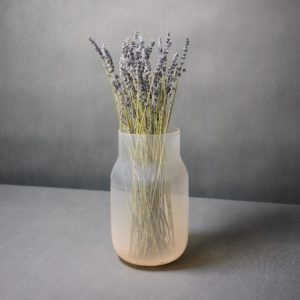 Nude vase by Dechem with lavander