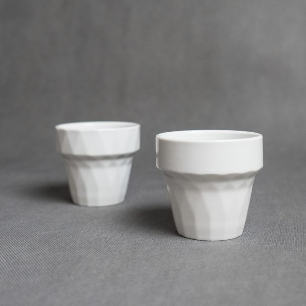 Two white porcelain cups by Filip Mirbauer