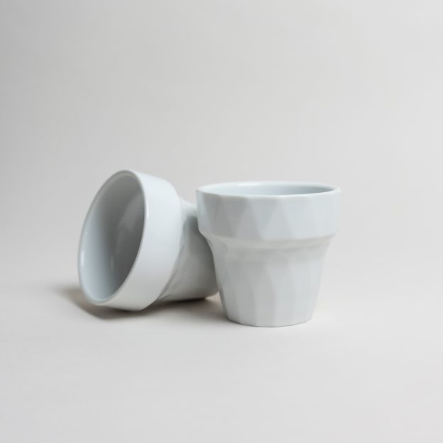 Two porcelain structured cups by Filip Mirbauer