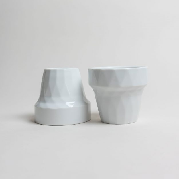 Two white porcelain cup by Filip Mirbauer