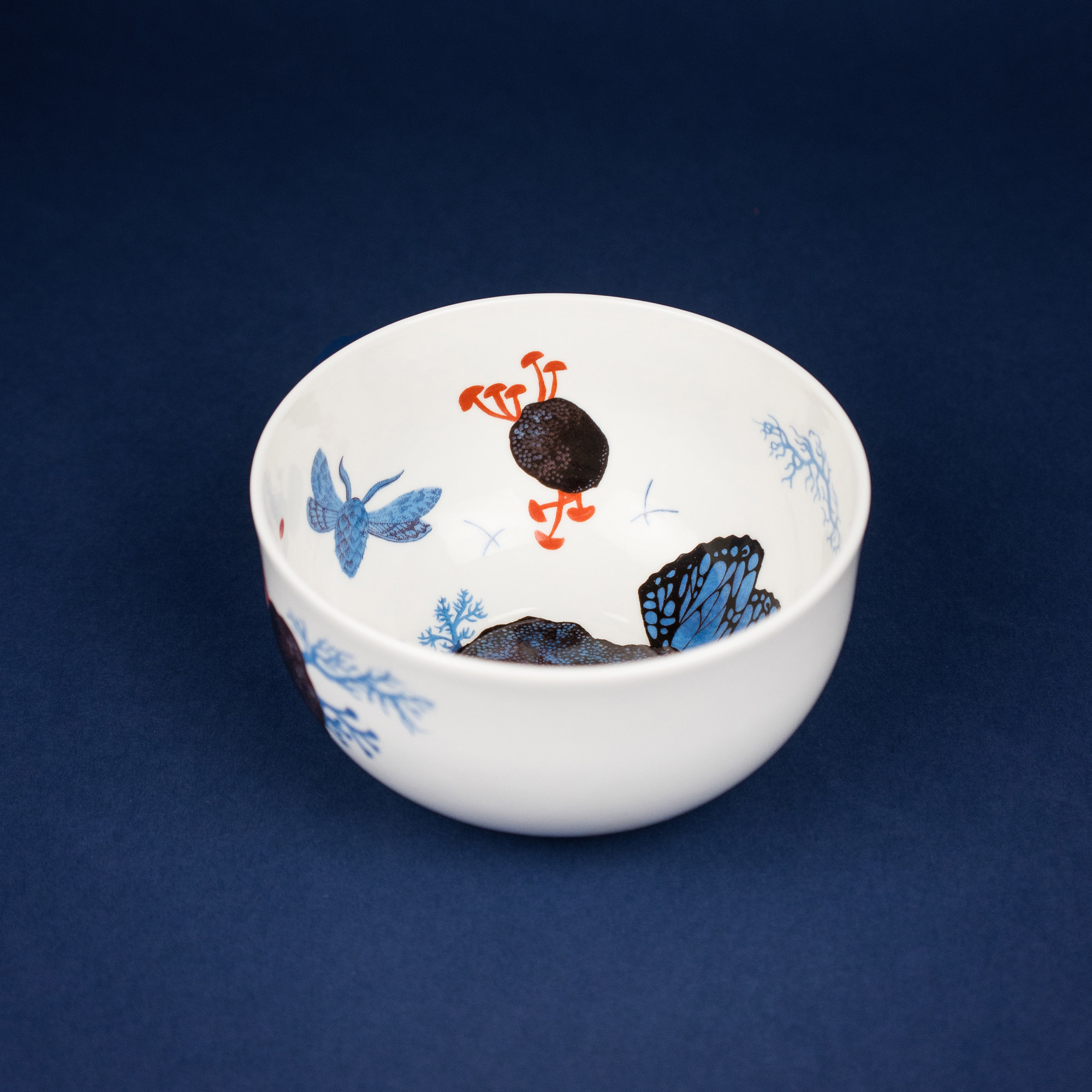 Porcelain bowl with floral print by Czech illustrator