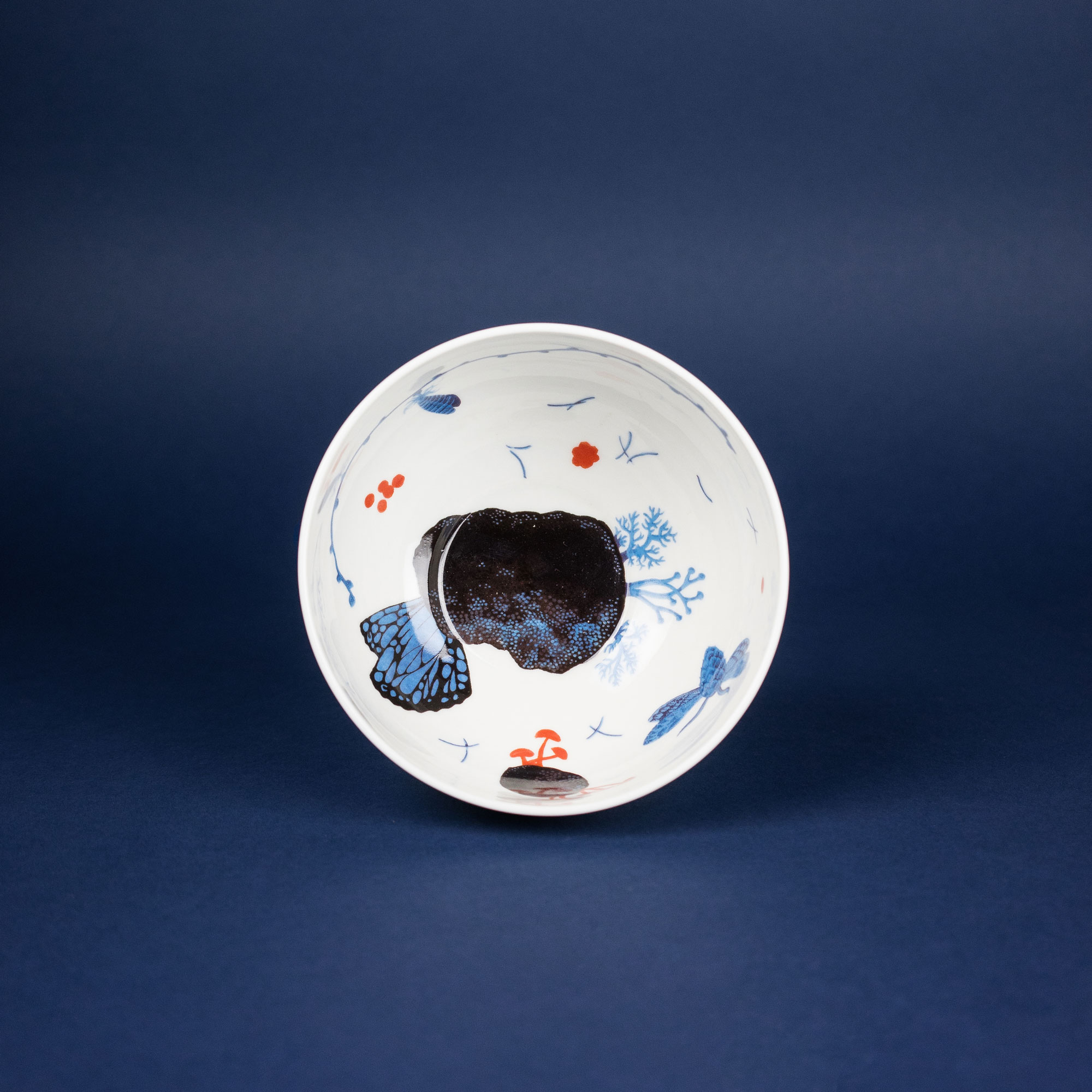 Colourful porcelain bowl by Krehky