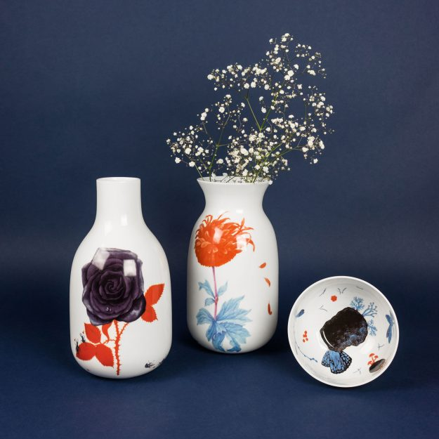 Porcelain vases with flowers by Krehky