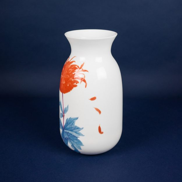 Porcelain vase with flower illustration by Michal Bacak