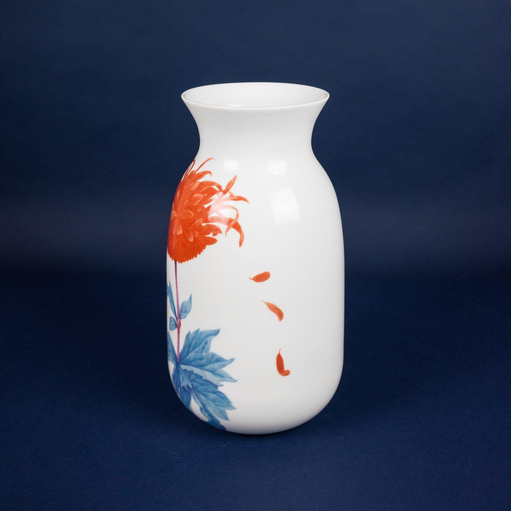 Porcelain vase with flower illustration by Michal Bacak