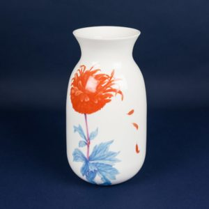 Porcelain vase orange and blue by Krehky