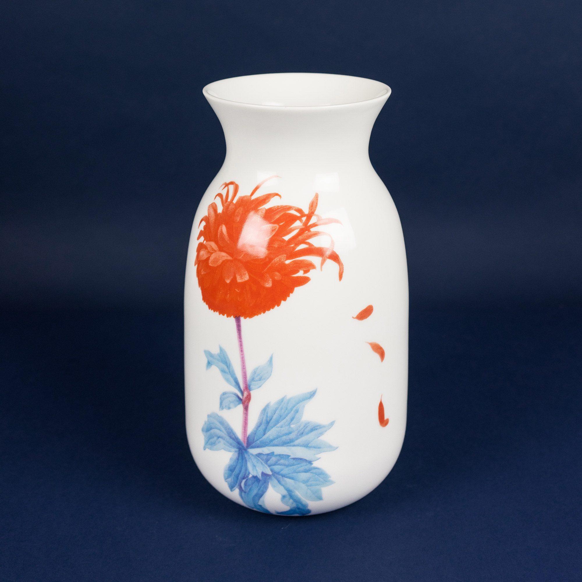 Porcelain vase orange and blue by Krehky