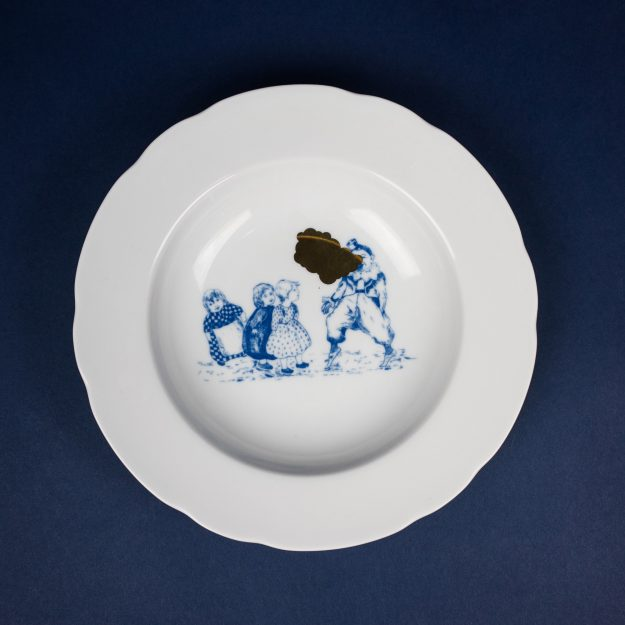 Gold and blue porcelain soup plate by Krehky design studio