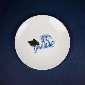 Gold and blue porcelain dinner plate by Krehky design studio