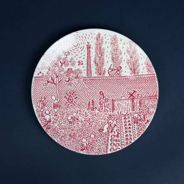 Red porcelain dinner plate by Michal Bacak for Krehky design studio
