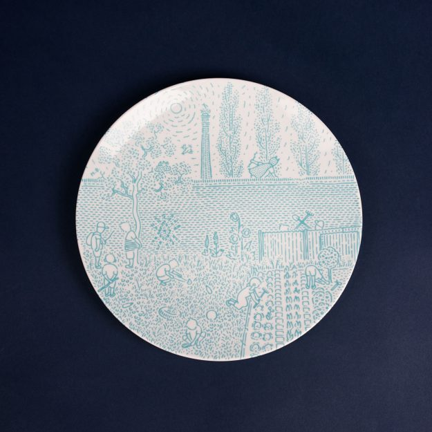 Turquoise porcelain dinner plate by Krehky design studio