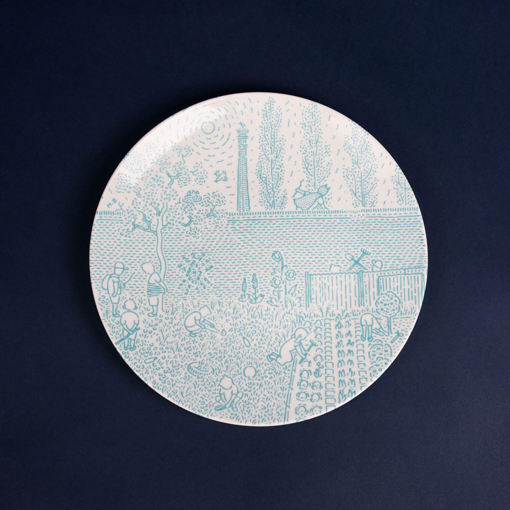 Turquoise porcelain dinner plate by Krehky design studio