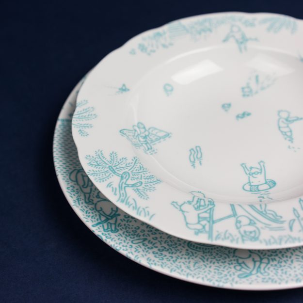 Turquoise porcelain soup and dinner plate by Krehky design studio
