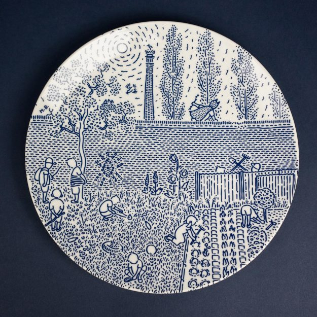 Cobalt porcelain dinner plate by Michal Bacak for Krehky design studio
