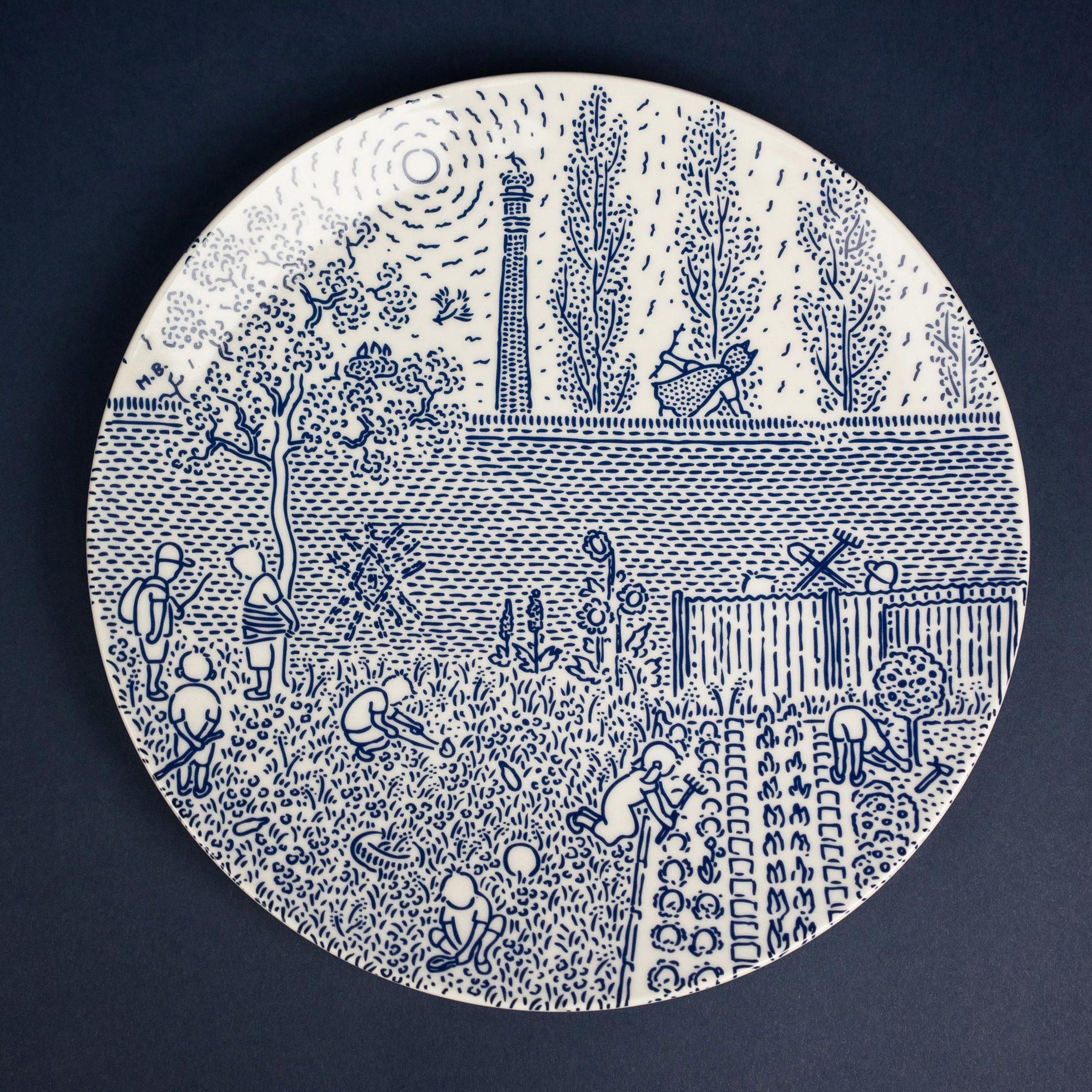 Cobalt porcelain dinner plate by Michal Bacak for Krehky design studio