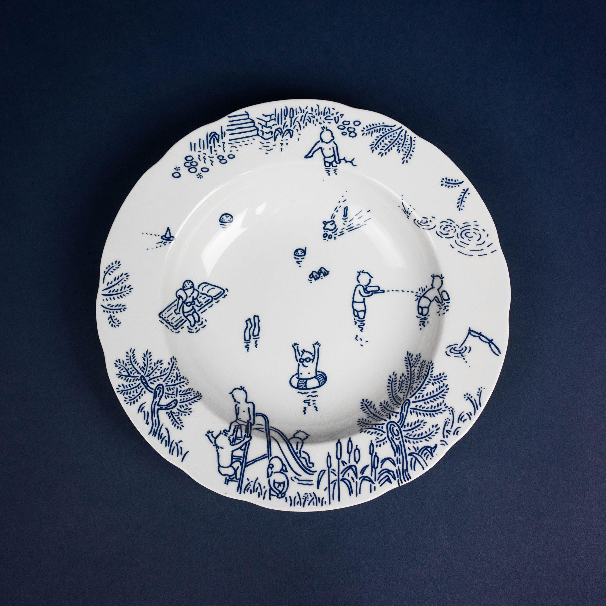 Blue porcelain soup plate by Michal Bacak for Krehky design studio