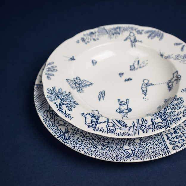 Blue porcelain soup and dinner plates by Michal Bacak for Krehky design studio