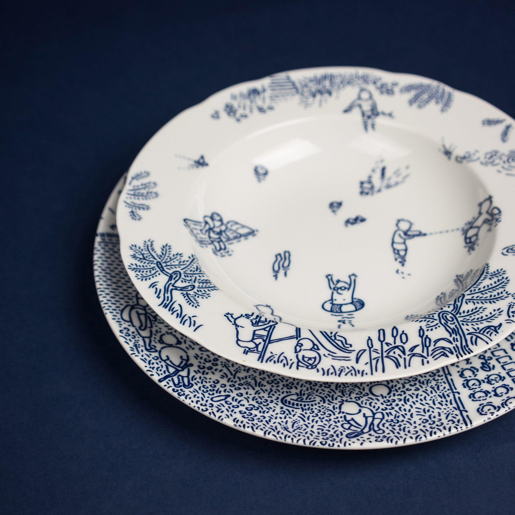 Blue porcelain soup and dinner plates by Michal Bacak for Krehky design studio
