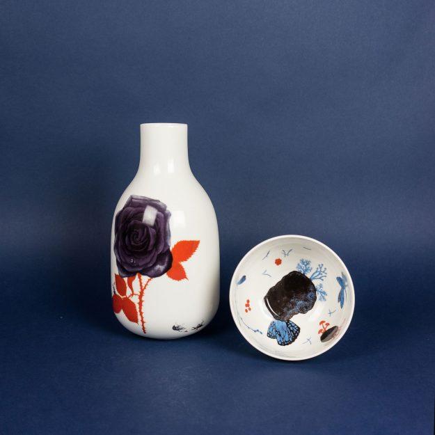 Porcelain vase and bowl by Michal Bacak for Krehky design studio