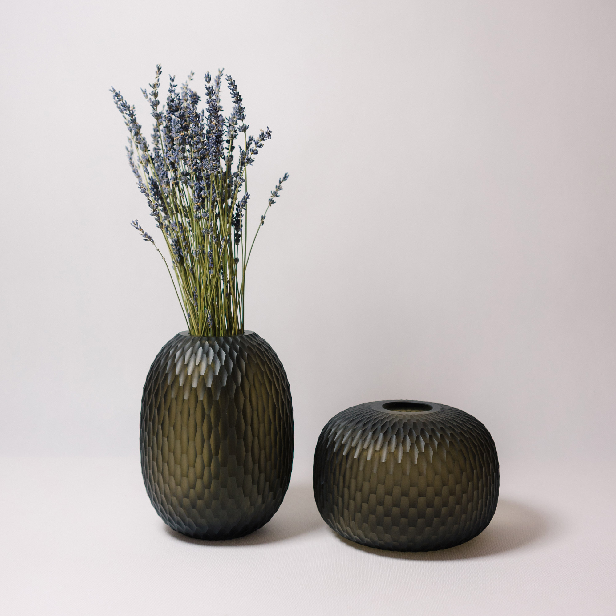 Handcut bohemian crystal vase by Ruckl, cigar colour, decorated with lavender
