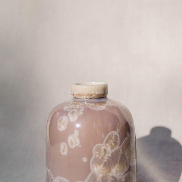 Cream crystalline vase by Milan Pekar