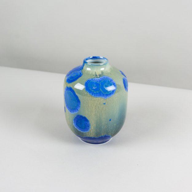 Top of the blue and green crystalline glass vase handmade by Czech designer Milan Pekar