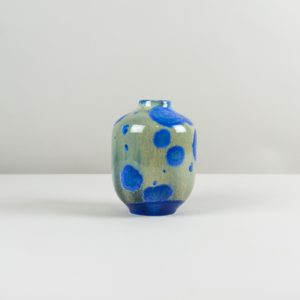 Blue and green crystalline glass vase handmade by Czech designer Milan Pekar