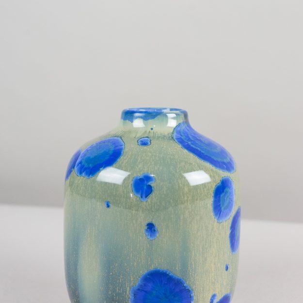 Blue and green crystalline glass vase handmade by Czech designer Milan Pekar