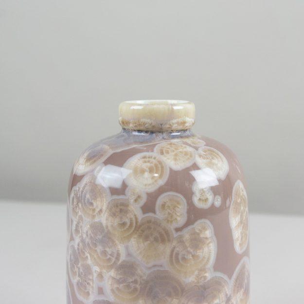 Cream crystalline glass vase by famous designer Milan Pekar
