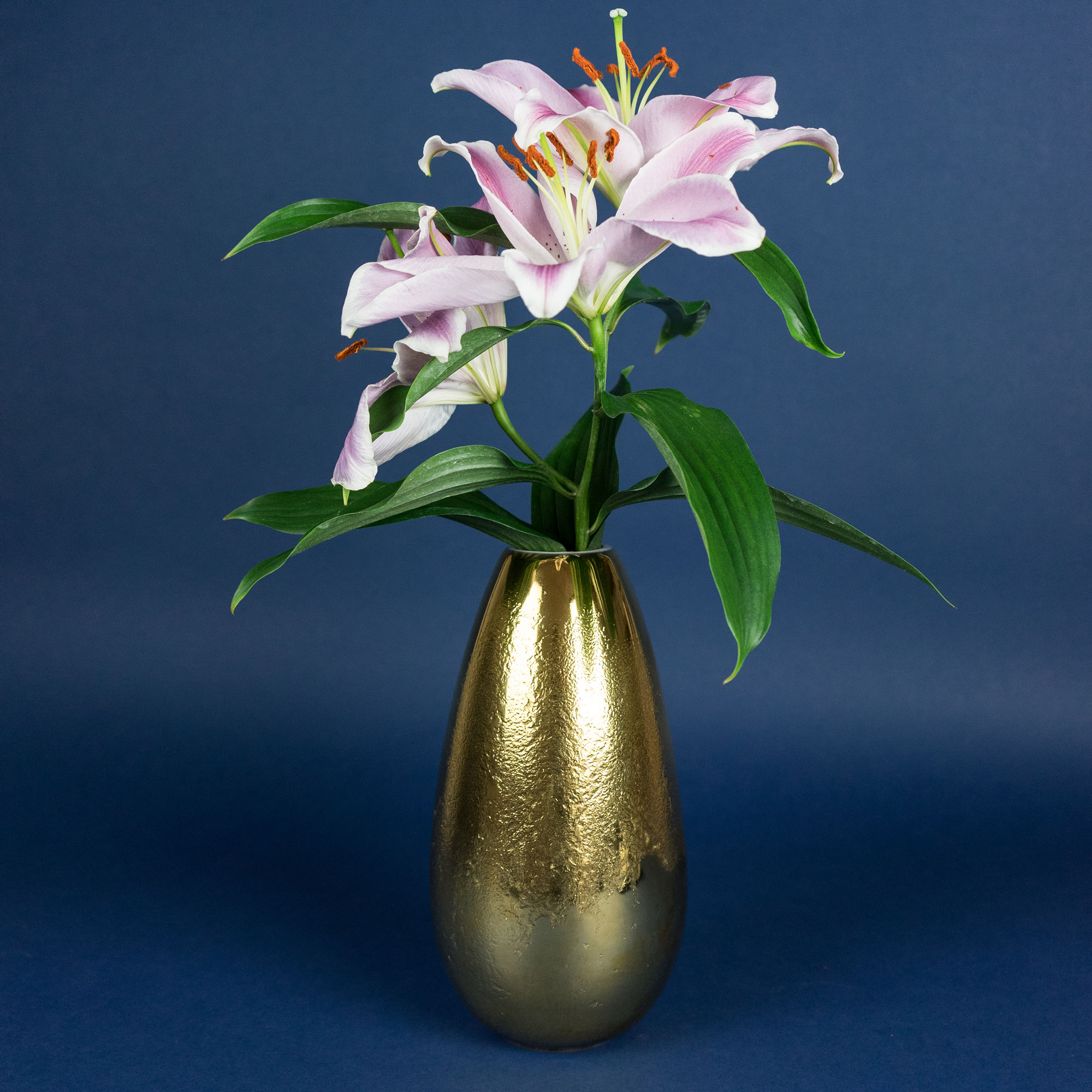 Fryst gold vase with flowers by Nalejto