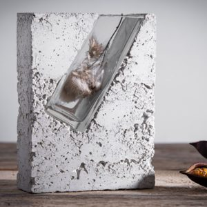 Concrete vase with clear glass by Prasklo design studio