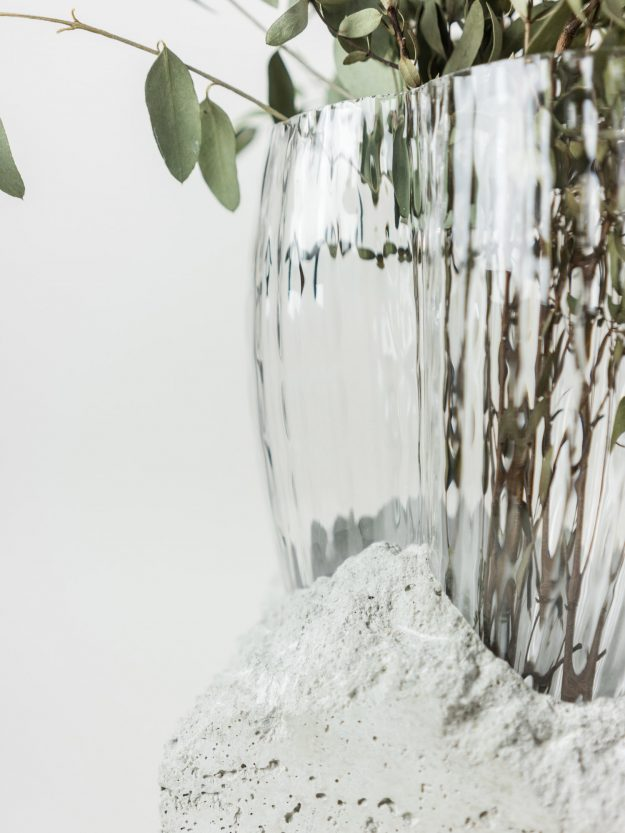 Concrete and glass vase with flowers by Czech designer Prasklo