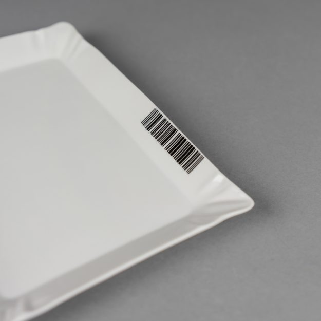 Porcelain tray with barcode by Qubus design studio