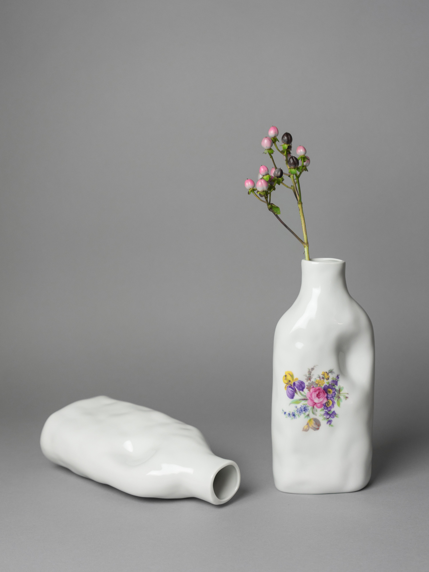 White porcelain vase with floral pattern handmade by Qubus design studio