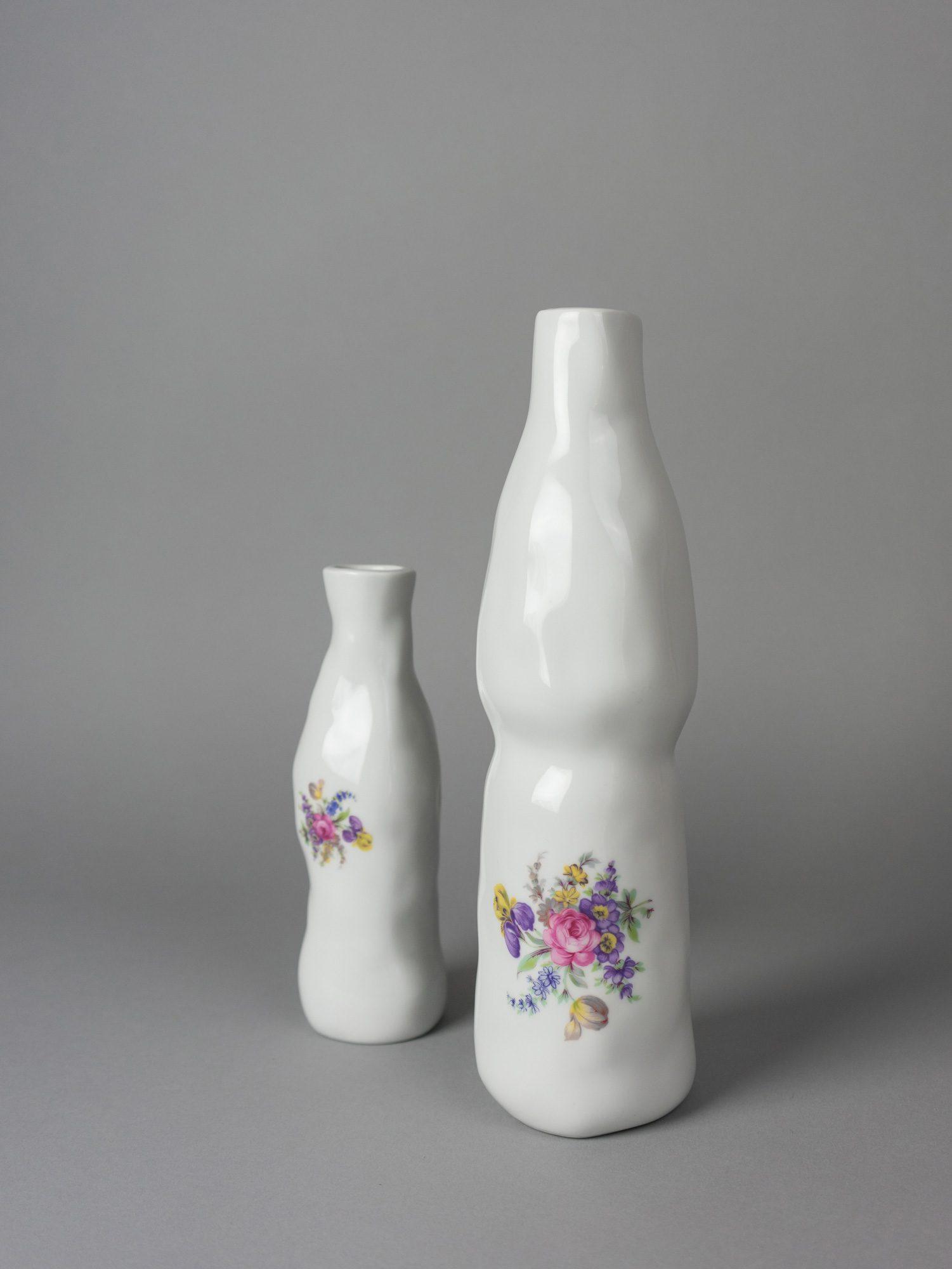 Two porcelain vases with floral prints by Qubus design studio
