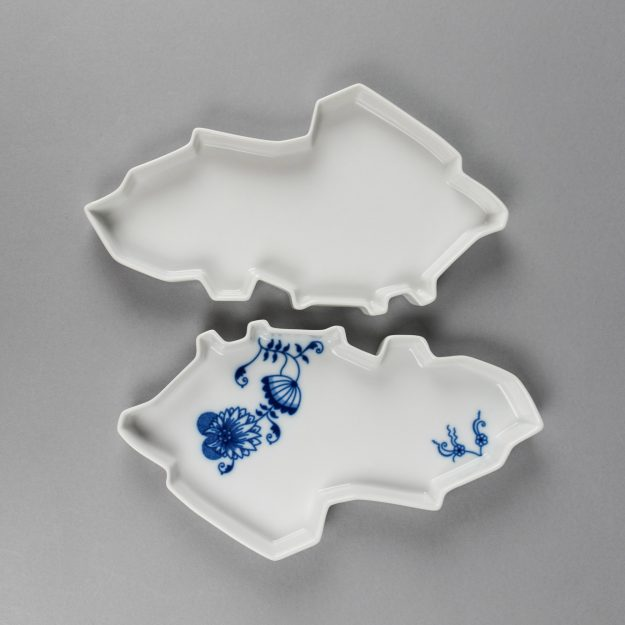Two porcelain trays in a shape of Czech Republic by Qubus design studio