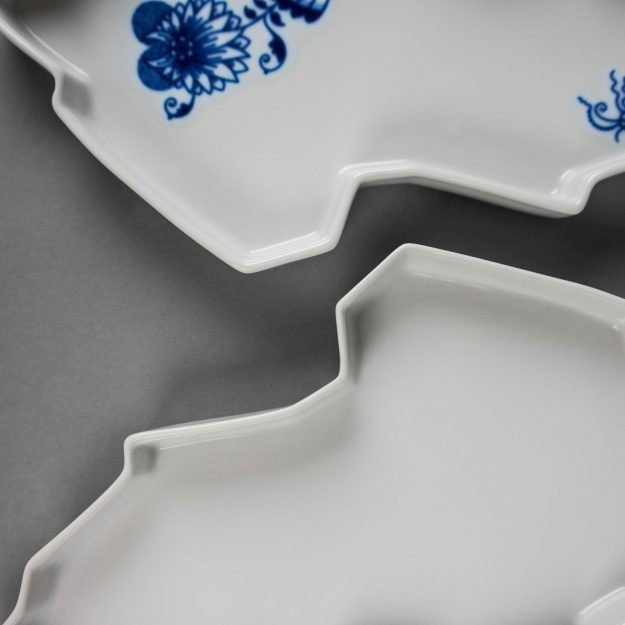 Two porcelain trays by Qubus design studio