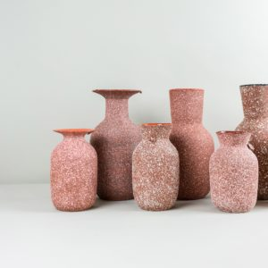 Red handmade vases by Roman Sedina