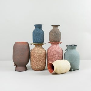 Mix of colourful handmade vases by Roman Sedina