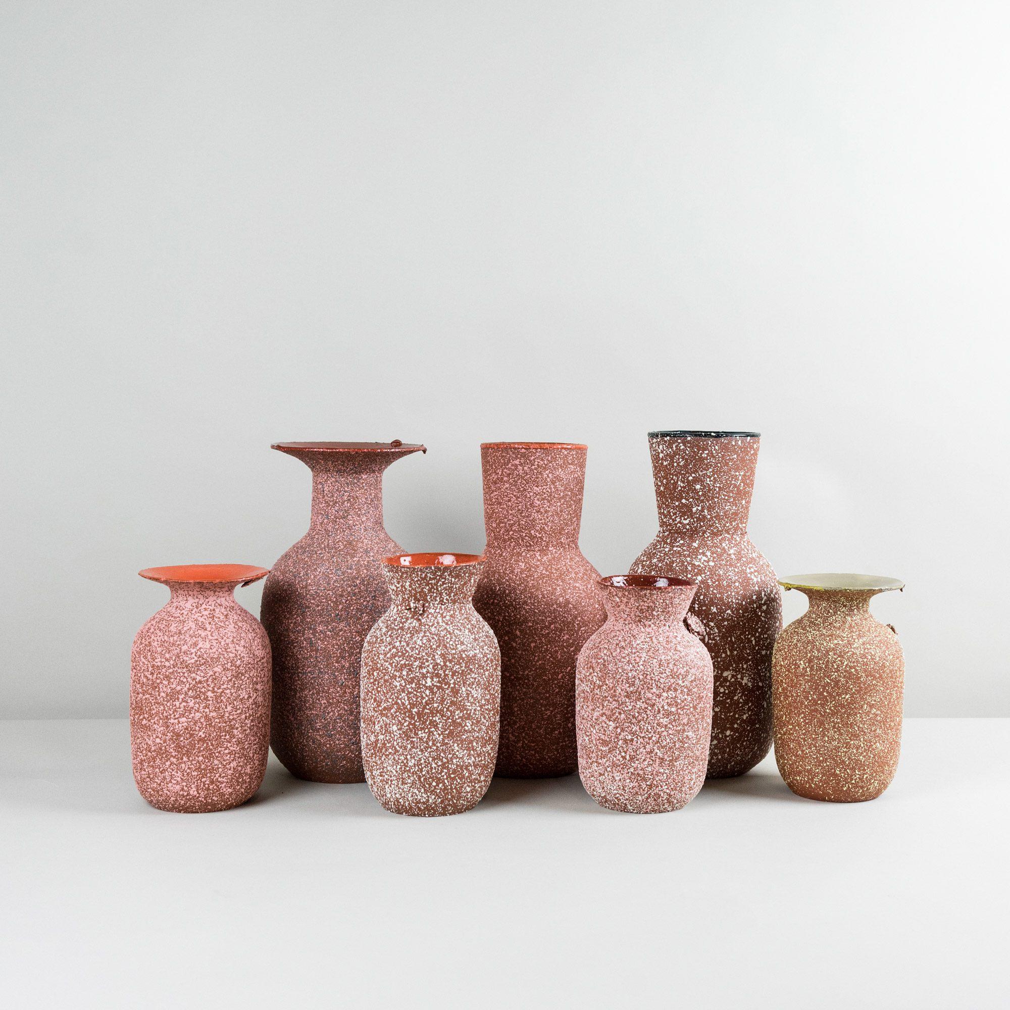 Tall and medium ceramic vases handmade by Czech designer Roman Sedina