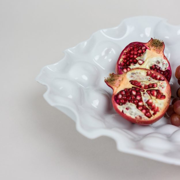 Detail of porcelain bowl by Tyformy with pomegranate and grapes 03