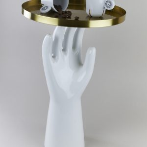 A porcelain hand with gold plated tray by Qubus design studio