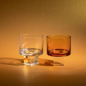 Transparent and amber crystal glasses for whiskey by Lukas Houdek