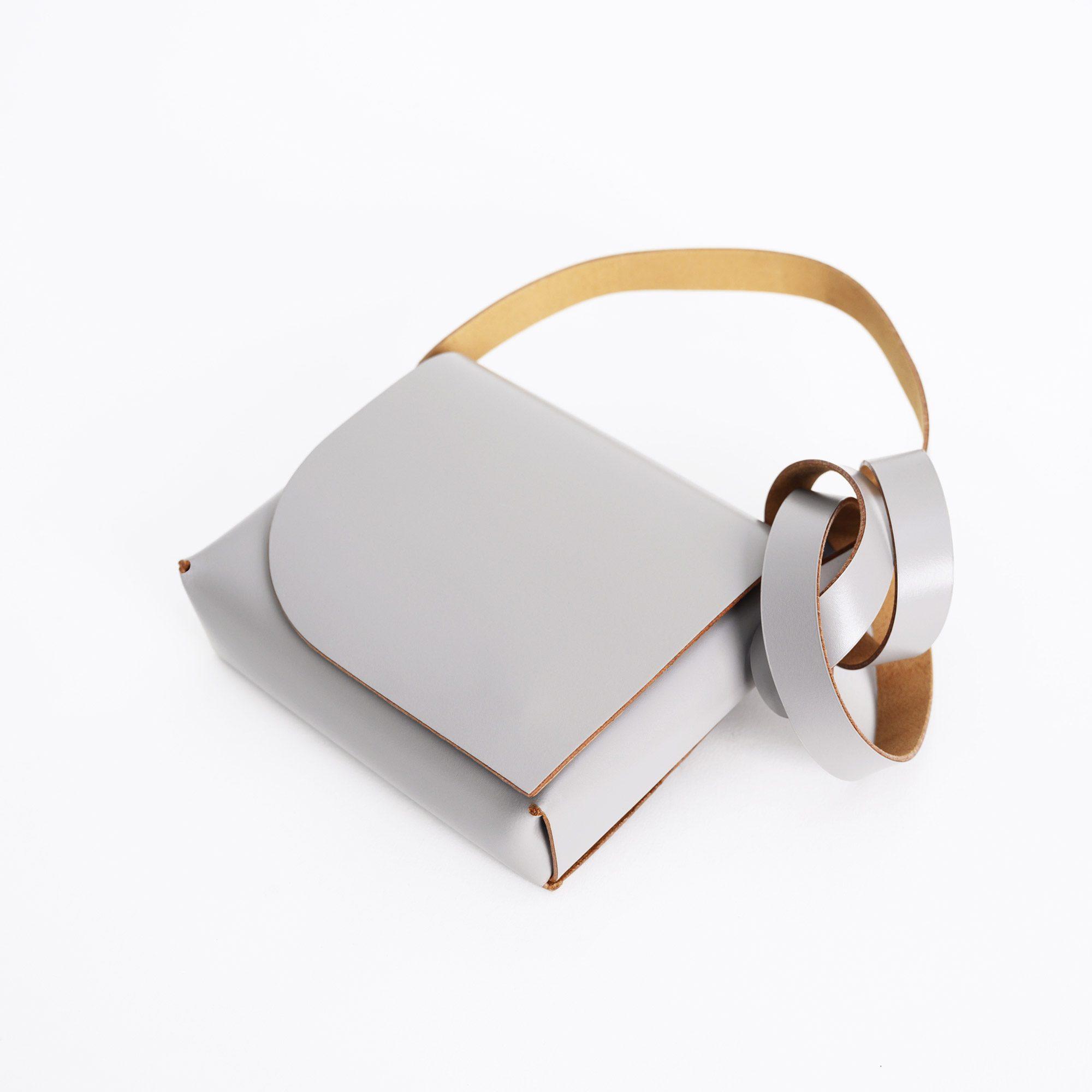 Grey leather bag handmade by PBG